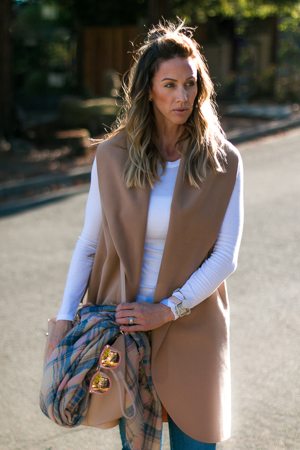 tan waterfall front vest