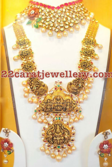Lakshmi Peacock Long Set Kundan Choker
