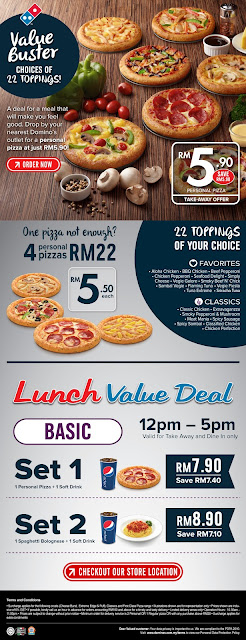 Dominos Pizza Malaysia RM5.90 Personal Pizza Take-away Offer