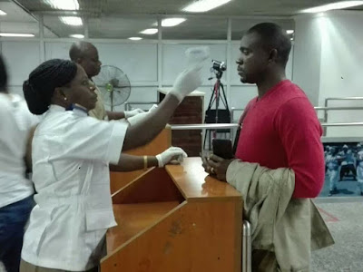 Image result for Ebola screening at the Lagos airport