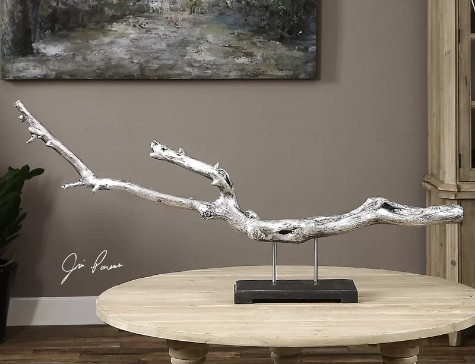 Modern Driftwood Sculpture Metallic