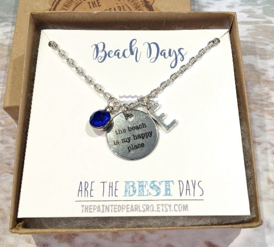 Beach Quote Necklace with Optional Birthstone and Initial