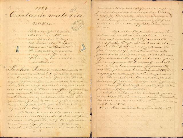 Carta compilada, 29/03/1724. Acervo Arquivo Nacional.