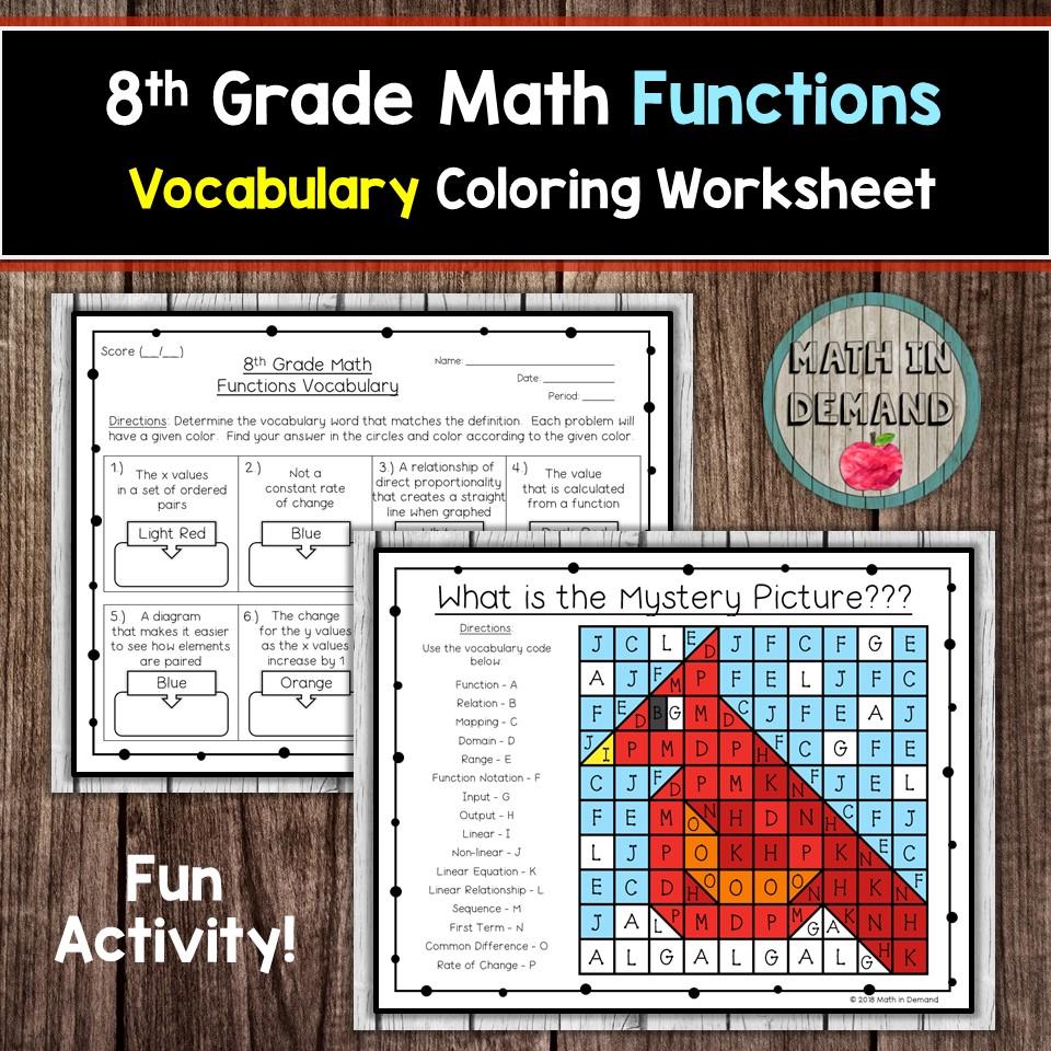 medium resolution of 8th Grade Math Vocabulary Coloring Worksheets