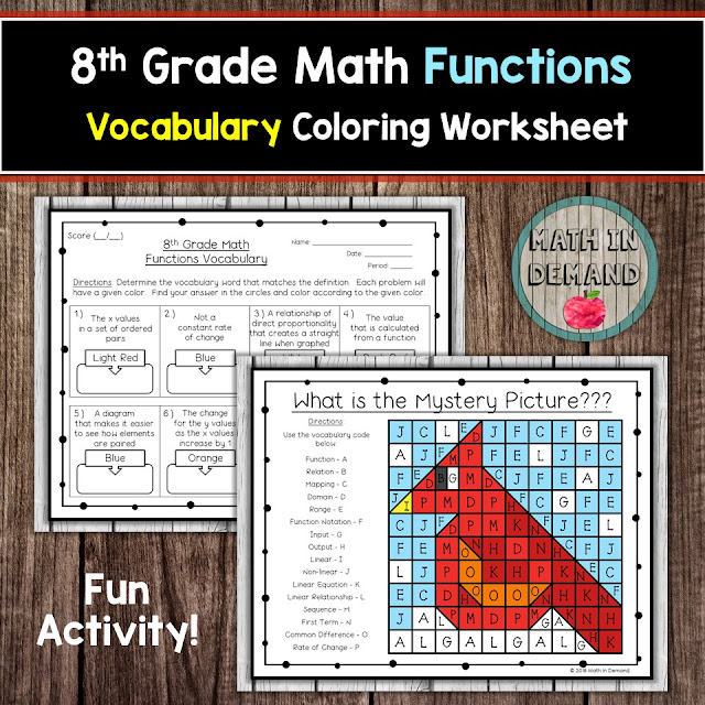 8th Grade Math Functions Vocabulary Coloring Worksheet
