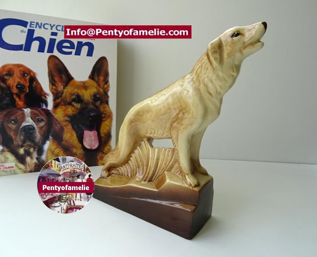 Unique Vintage Collie Dog Sculpture in pale brown, French Ceramics signed J Nat from Radegonde pottery
