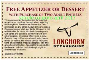 Longhorn Steakhouse coupons april 2017