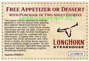Longhorn Steakhouse coupons april 2017