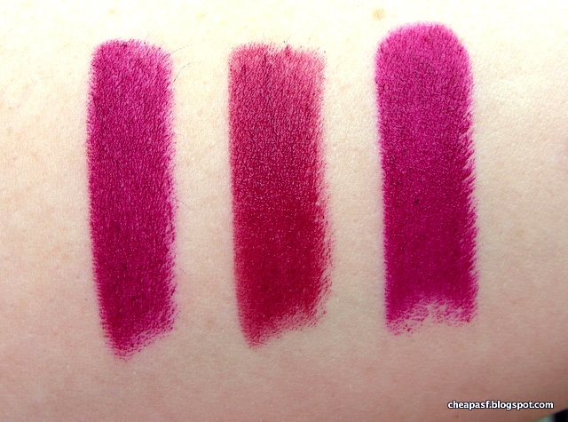 Swatches of Bite Jam, Bite Mulberry, and Wet N Wild Sugar Plum Fairy