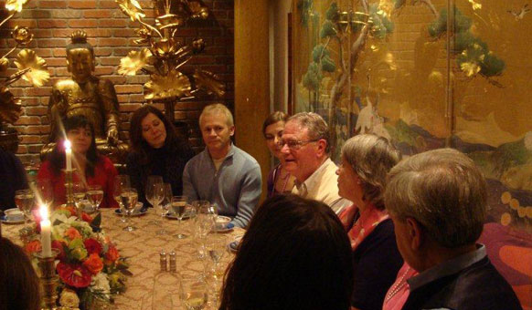 Fellowship of Friends cult leader Girard Haven teaching dinner at Apollo, Oregon House, CA