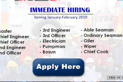 Hiring Officers, Engineers, Ratings Join January-February 2019
