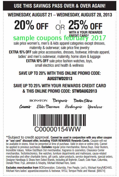 Jul 11,  · 20% Off Carson Pirie Scott Coupons – 1/31/ – Purchase any jewellery or sale price apparel and receive 20% off. Print the coupon off or have a code sent to your mobile. $15 Carson Pirie Scott Coupon – 1/31/ – Spend $50 and get $15 off at Carson's. This is a store .