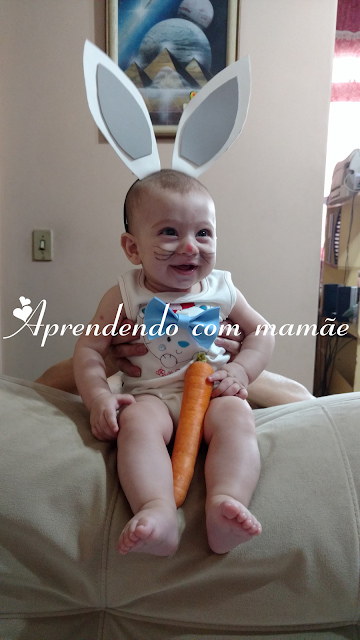 especial de páscoa, E.V.A, páscoa, acrilex, cola Acrilex, molde, nenê, criança, coelho da páscoa, 4 meses, maquiagem de criança, maquiagem páscoa
