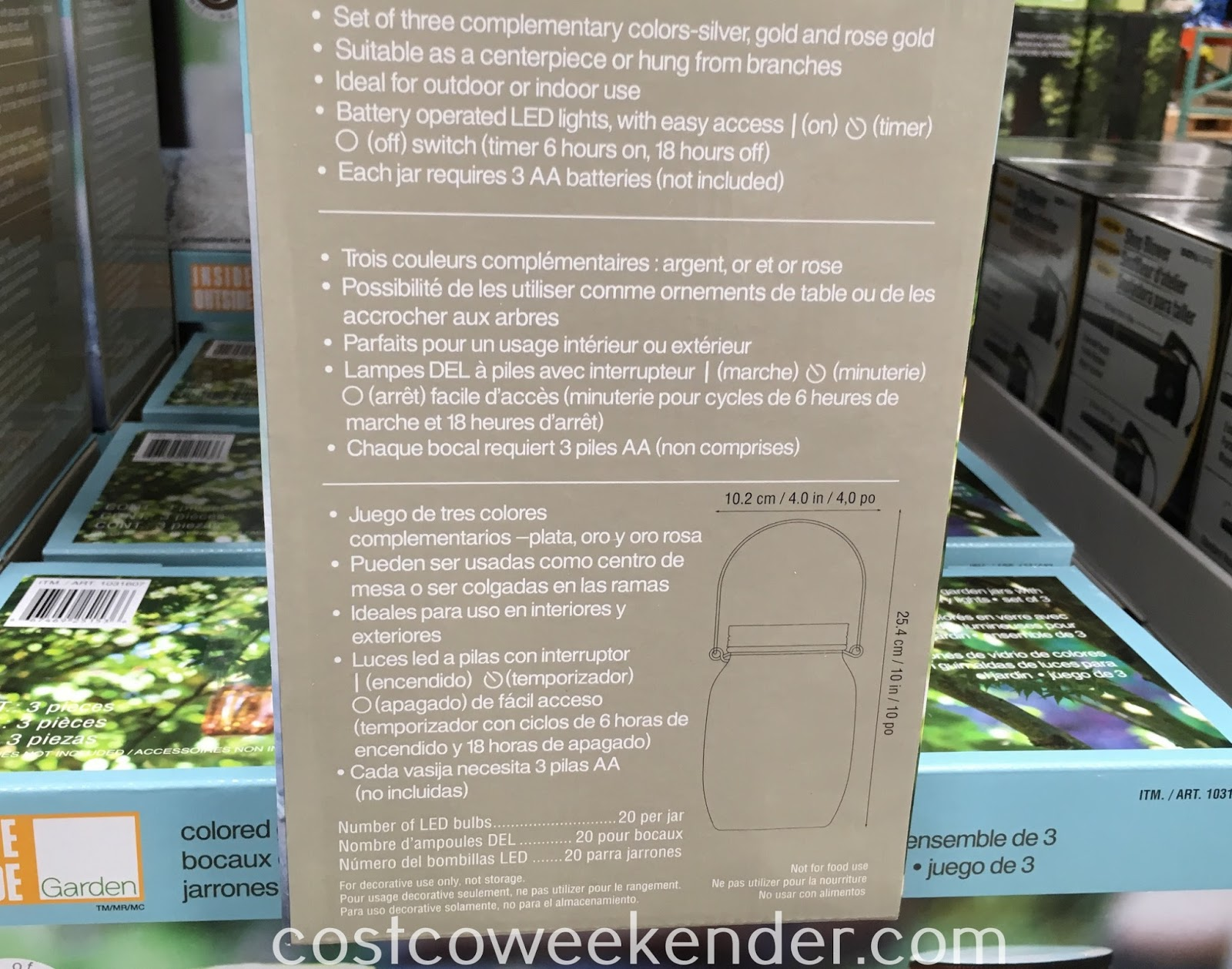 Costco 1136703 - Inside Outside Garden Colored Glass Garden Jars: great as a decorative piece in and around your home