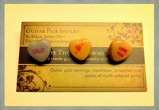 """UR IT"" , Hearts and ""LOVE YOU"" candy heart stud earrings"