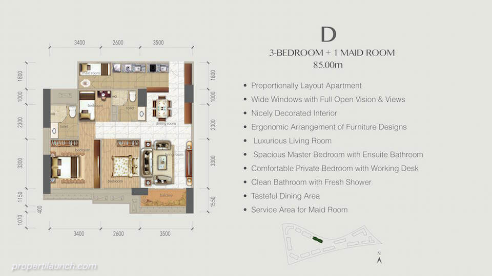 Denah Apartemen BSD Sky House 3+1 BR