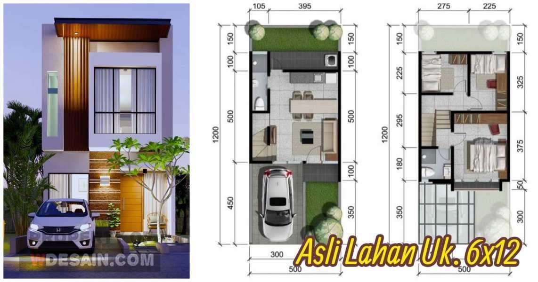 Rumah 5x12 2 Lantai Tampak Depan Dan Denah Desain Rumah Minimalis
