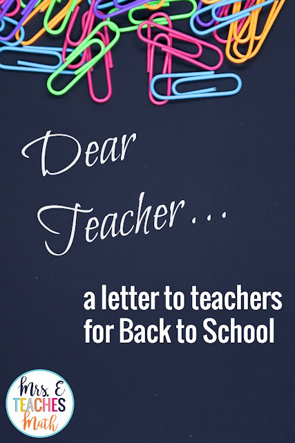 a letter to teachers preparing for back to school