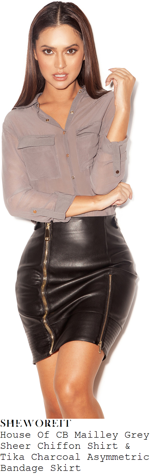 kendra-wilkinson-mailley-grey-sheer-chiffon-shirt-and-tika-charcoat-asymmetric-bandage-skirt