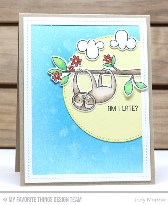 Handmade card from Jody Morrow featuring Sweet Sloths stamp set and DIe-namics, Single Stitch Line Rectangle Frames and Stitched Circle STAX Die-namics #mftstamps