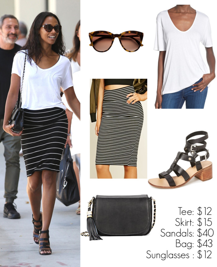 Zoe Saldana in a white tee and striped black and white skirt - get the look for less! www.wearitforless.com