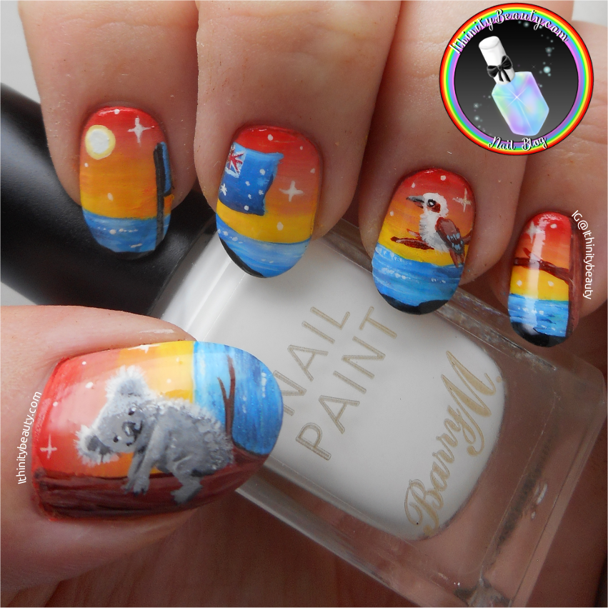 Freehand australia day nail art koala and kookaburra i decided to go for two national animals of australia the koala bear and the kookaburra bird you guys know i love animals and nature prinsesfo Gallery