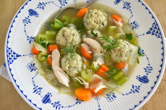 dilled matzo ball soup, from scratch