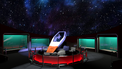 Exhibit designer's rendering of what the exhibit will look like with the escape pod serving as a centerpiece.
