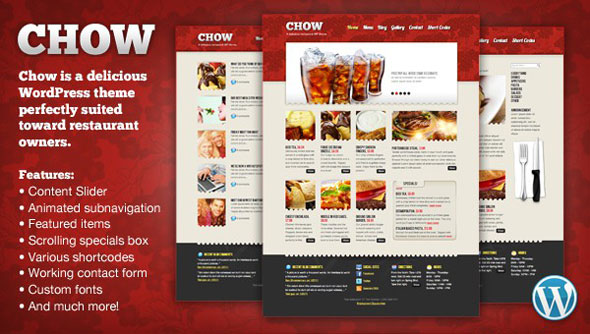 Chow - Restaurant Wordpress Theme Free Download by MojoThemes.