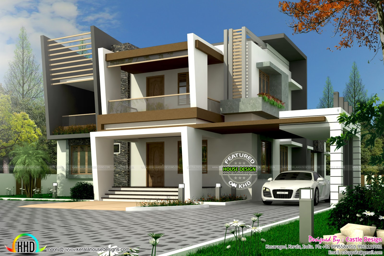 Modern Home Front Elevation : Modern contemporary home sq yards kerala design