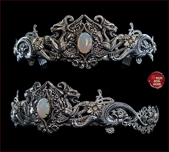 couronne medievale dragon argent mariage blanc opale daenerys targaryen crown weddign white opal medieval renaissance game of thrones circlet queen moonstone