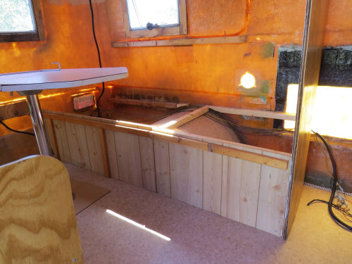 inside a partially finished fiberglass trailer