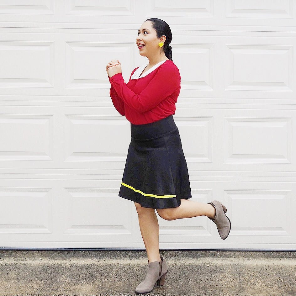 DIY Halloween Costumes, Easy Costumes, Frida Kahlo Costume, Olive Oyl costume, Costume with closet items