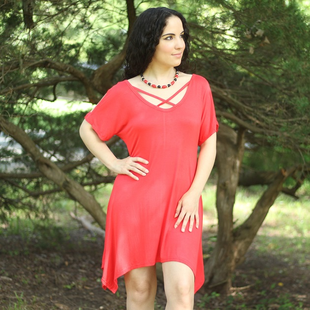 Red Criss Cross Neck Cold Shoulder Dress