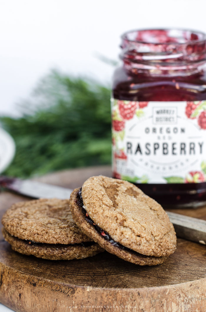 Gingersnap cookies filled with raspberry jam