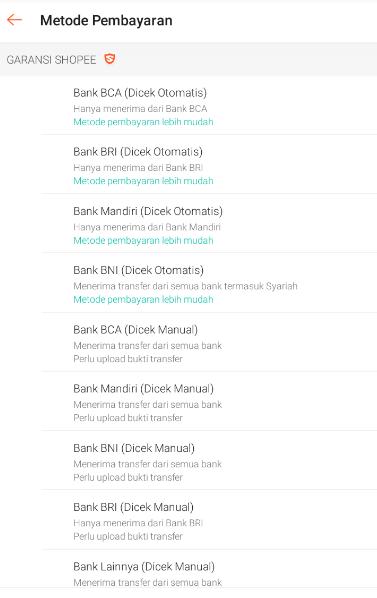 pilih bank yang tersedia di shopee