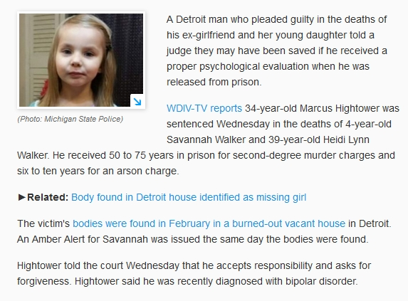 MI; black ex con murders white ex, 4-yo daughter - sentenced - Savannah, Heidi Walker (11-30-16) (3)