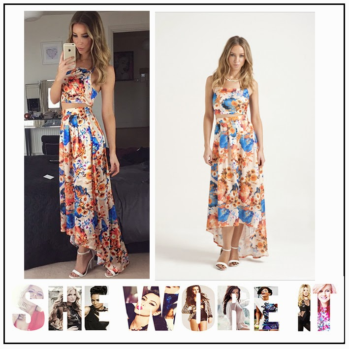 All Over Floral Print, Blue, Celebrity Fashion, Co-ord Set, Crop Top, Dipped Hem, High Waisted, In the Style, Lauren Pope, Matching, Maxi Skirt, Orange, Sleeveless, TOWIE,