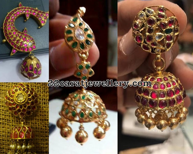 Kundan Ruby Jhumkas with Pearl Drops
