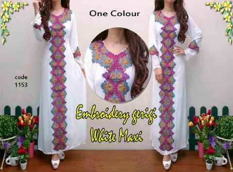 Material sifon cerruty ornament bordir wrn.  Fit to XL (ada furing)