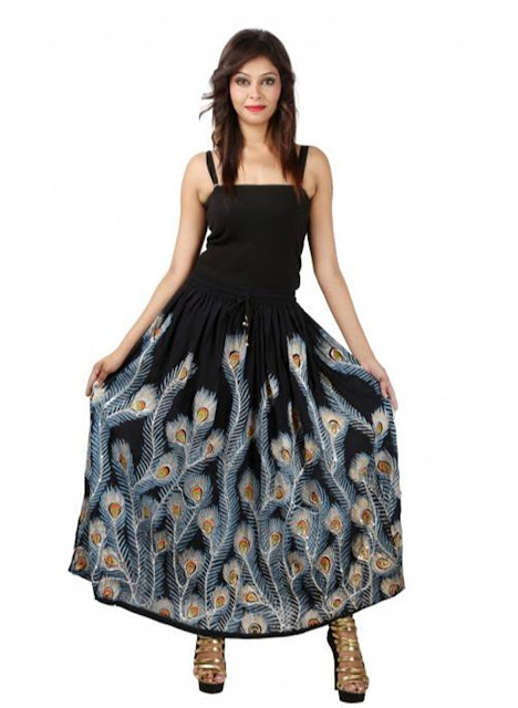 Rayon Crepe Peacock Feather Printed Skirt