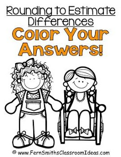Fern Smith's Classroom Ideas Rounding to Estimate Differences - Color Your Answers Printables - No Common Core