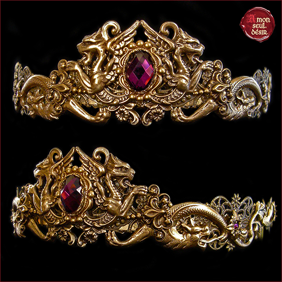 couronne medievale dragons bronze violet amethyste dragon medieval crown khaleesi circlet targaryen daenerys headdress mythical queen game of thrones jewelry