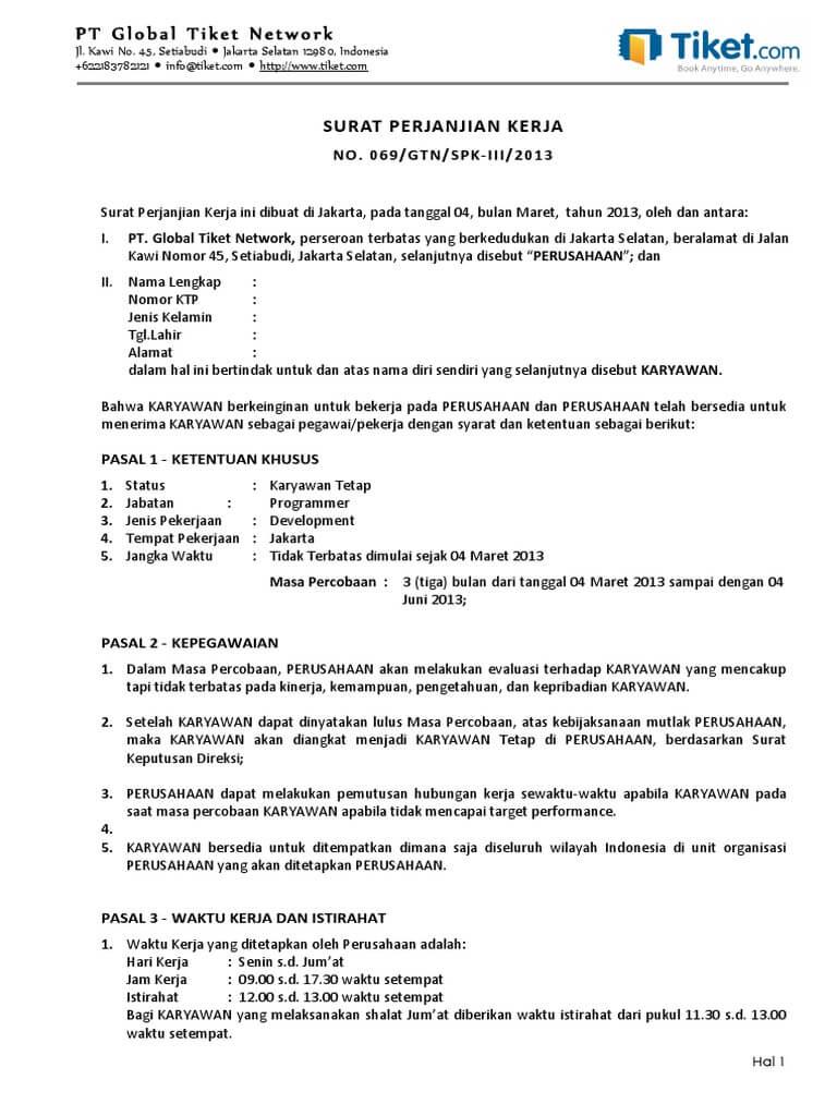 contoh kontrak kerja outsourcing
