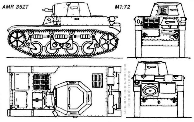 Общий вид легкого французского танка Auto-mitrailleuse de reconnaissance AMR 35