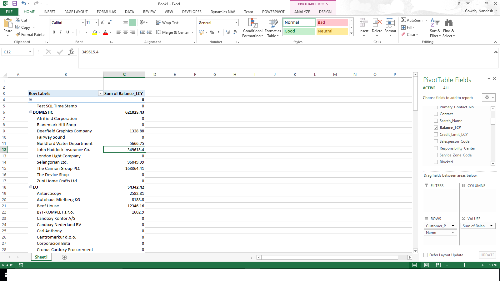 Nandesh Gowda Viewing Page Data In Excel Using
