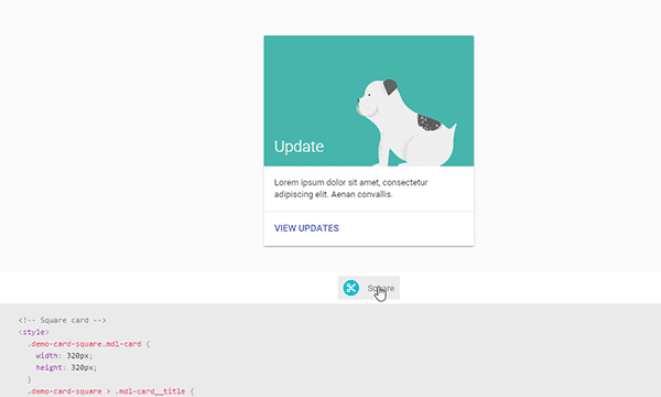 Quickly copy code from Material Design Lite site