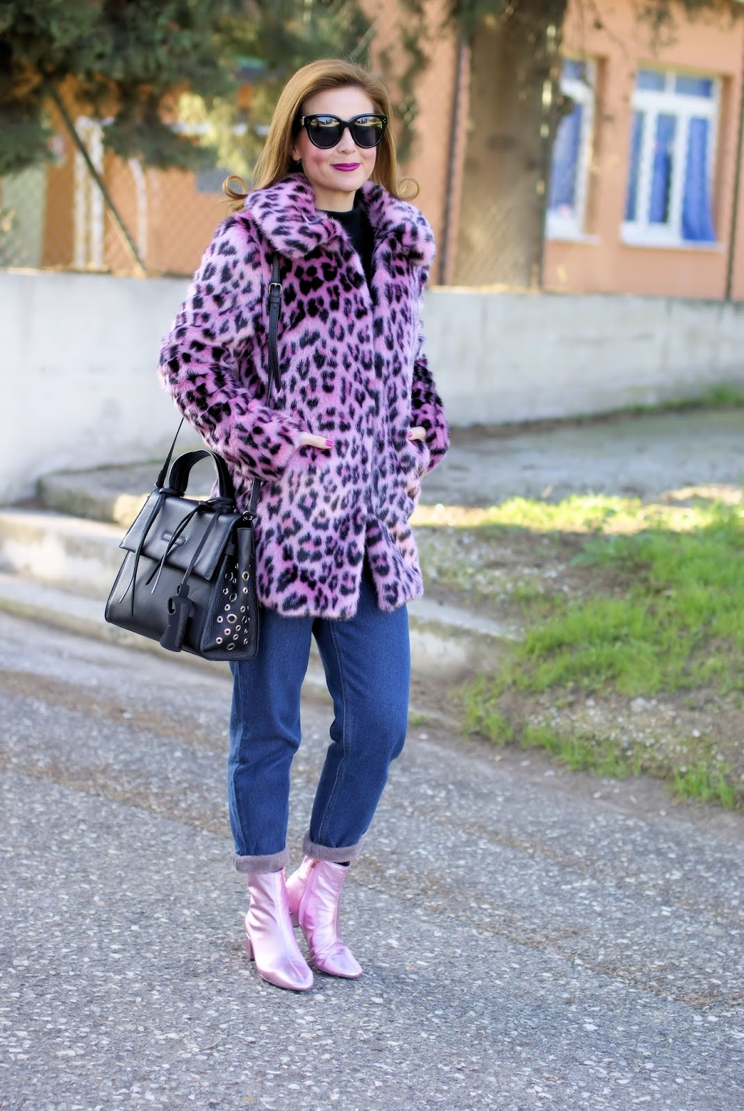 wholesale dealer 4a818 027bf How to wear pink in the Winter: pink leopard faux fur jacket ...
