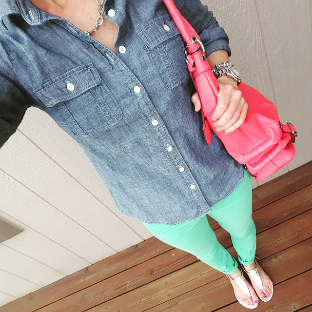 J. Crew Factory Chambray Shirt // Banana Republic Mint Skinny Jeans (similar) // Nine West Sandals (similar) // Jessica Simpson Handbag (similar - LOVE this one and it's on sale for $40!) // Michael Kors Runway Watch
