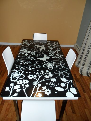 Felt Bottoms For Chairs Spandex Chair Covers Black Vika Amon/glasholm Dining Table - Ikea Hackers